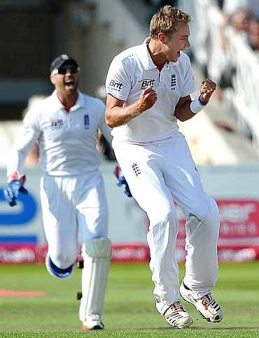 Stuart Broad celebrates after picking up a wicket