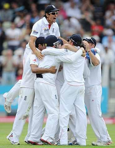 England team celebrates after winning the Test match