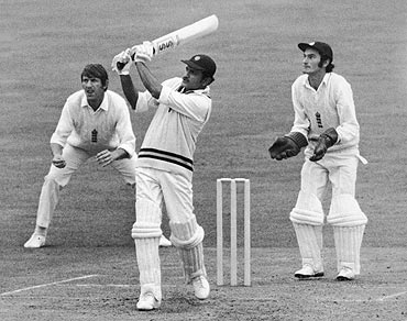 Wadekar bats in India's 1st innings of the third Test at the Oval; wicketkeeper Alan Knott looks on
