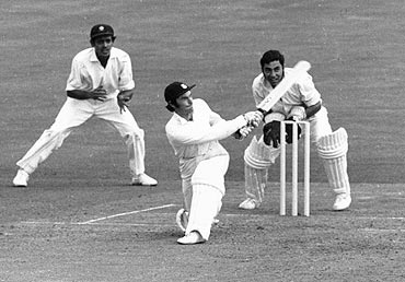 Alan Knott bats against India