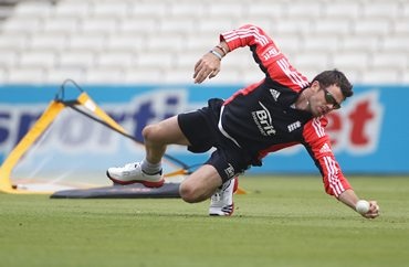 James Anderson goes through a fitness Test at the Oval
