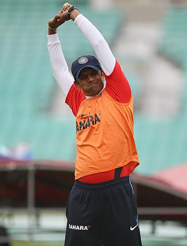 Rahul Dravid warms up during the nets session at The Oval