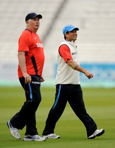India coach Duncan Fletcher and Sachin Tendulkar at The Oval