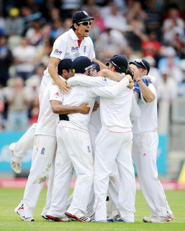 The England cricket team celebrate their victory against India in the third Test at Birmingham