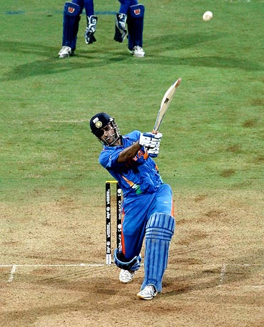 Mahendra Singh Dhoni hits a six to win the 2011 World Cup, against Sri Lanka in Mumbai