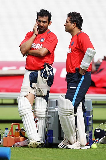 Gautam Gambhir and Sachin Tendulkar have a chat during a nets session