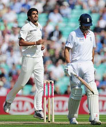 Ishant Sharam celebrates after pickign the wicket of Alastair Cook