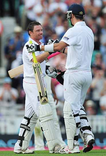 Kevin Pietersen congratulates Ian Bell on scoring a century