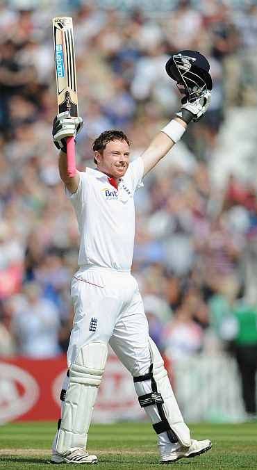 Ian Bell celebrates after completing his double century