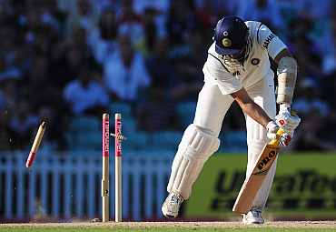 VVS Laxman is clean bowled by James Anderson