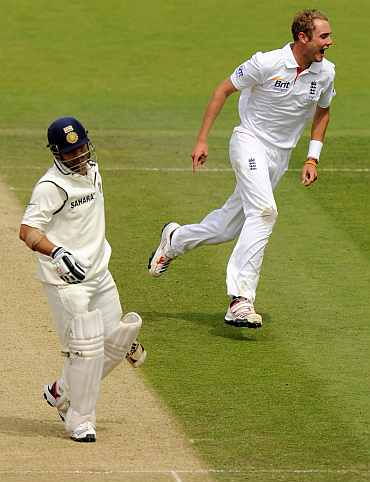 Sachin Tendulkar and Stuart Broad