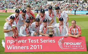 England players celebrate after winning the fourth Te