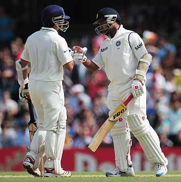 Amit Mishra and Sachin Tendulkar