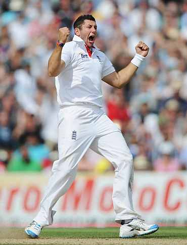 TIm Bresnan celebrates after picking up the wicket of Sachin Tendulkar