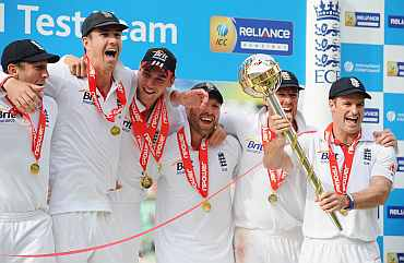 Andrew Strauss receives the ICC Test Championship Mace as England become the number one ranked team