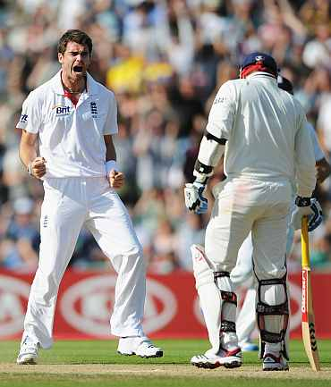 James Anderson celebrates after picking up the wicket of Virender Sehwag