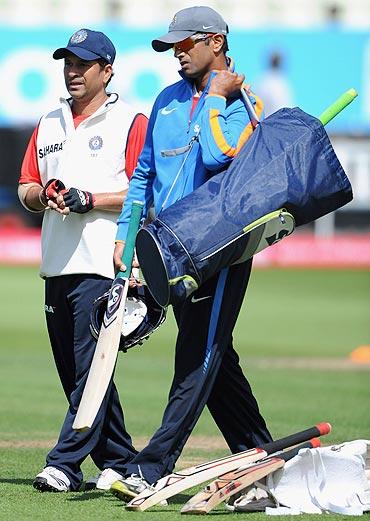 Sachin Tendulkar with Rahul Dravid