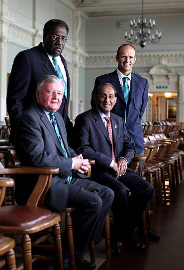 ICC President David Morgan, Clive Lloyd the Chairman of the Cricket Committee, Haroon Lorgat