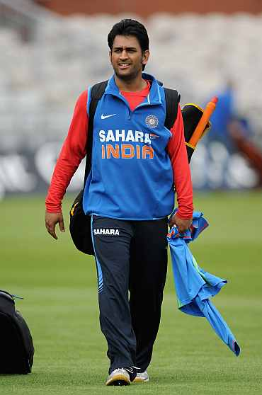 MS Dhoni during a prac