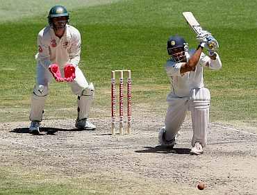 VVS Laxman plays a shot during his knock against Australia