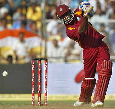 Marlon Samules plays a shot during his knock against India