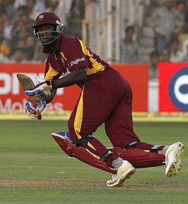 Andre Russel plays a shot during his knock against India
