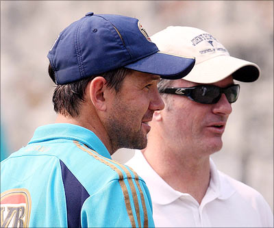 Steve Waugh (right) with Ricky Ponting