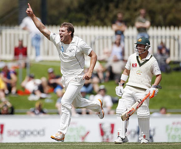 New Zealand's Doug Bracewell (left) celebrates after dismissing Australia's Nathan Lyon