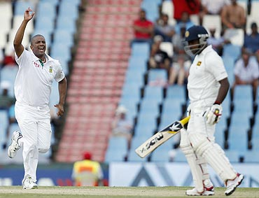 Vernon Philander celebrates after dismissing Rangana Herath