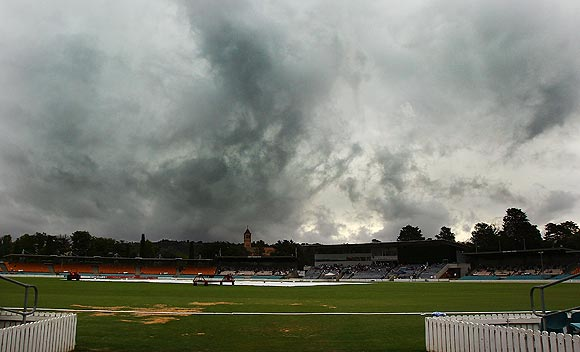 Rain interupts play on Day One of the tour match against Cricket Australia Chairman's XI in Canberra on Monday