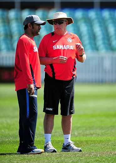 Duncan Fletcher with MS Dhoni