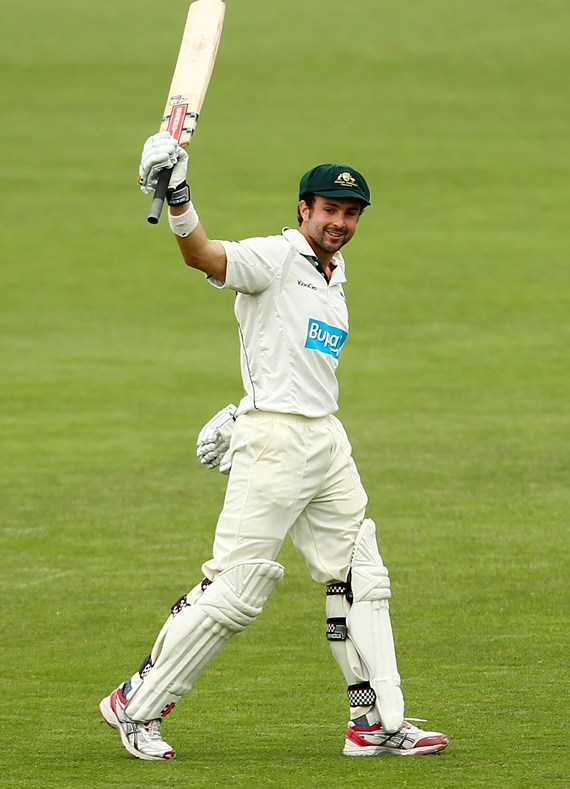 Cowan celebrates after getting to hundred