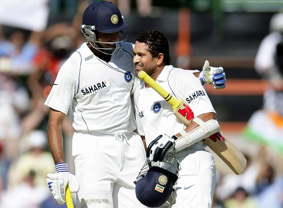 Sachin Tendulkar (right) with VVS Laxman