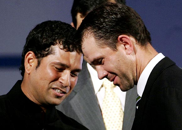 Sachin Tendulkar (left) with Ricky Ponting