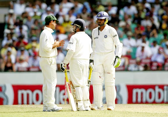 Australia captain Ricky Ponting (left) speaks to Sachin Tendulkar and Harbhajan Singh during the Sydney Test in 2008