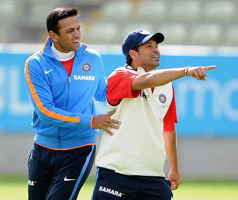 Rahul Dravid (left) with Sachin Tendulkar