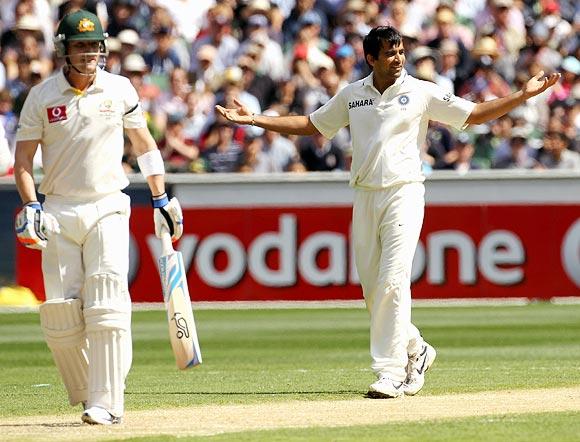 Zaheer Khan celebrates the wicket of Brad Haddin