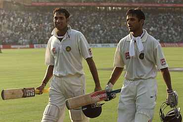 V V S Laxman and Rahul Dravid after their legendary partnership, Eden Gardens, March 2001