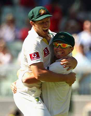 James Pattinson (left) with Peter Siddle