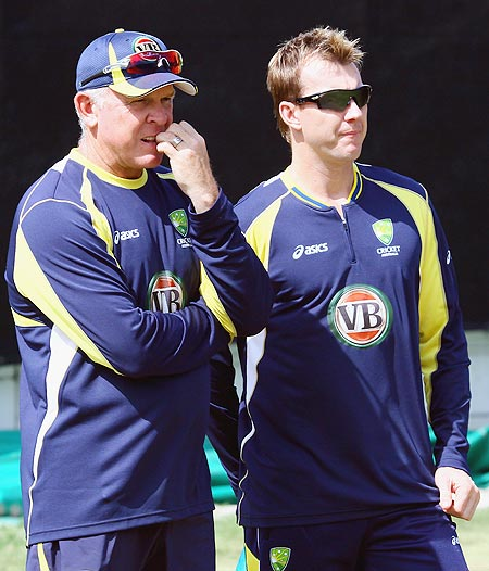 Craig McDermott (left) with Brett Lee