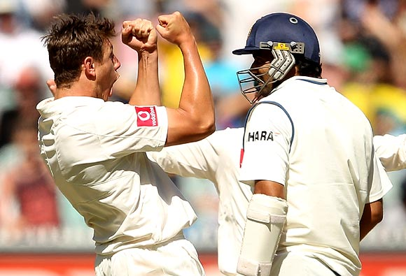 James Pattinson celebrates the wicket of Zaheer Khan