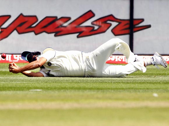 Zaheer Khan drops a catch from James Pattinson