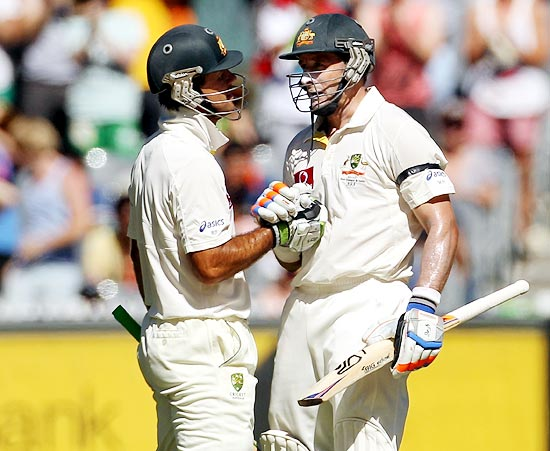Michael Hussey, right, with Ricky Ponting
