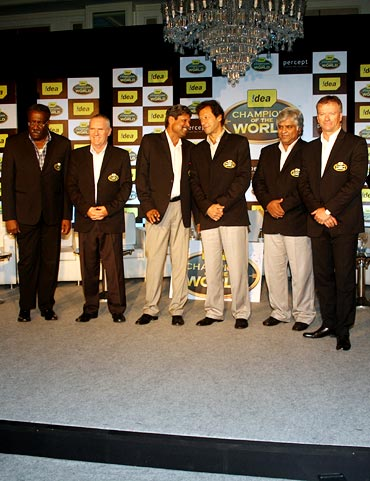 (Left to right): Clive Lloyd, Allan Border, Kapil Dev, Imran Khan, Arjuna Ranatunga and Steve Waugh