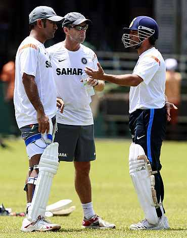 MS Dhoni, Gary Kirsten and Sachin Tendulkar