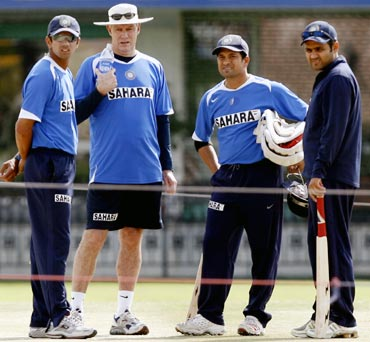(From left to right): Rahul Dravid, Greg Chappell, Sachin Tendulkar and Virender Sehwag