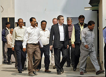 An International Cricket Council (ICC) team arrive to inspect Eden Gardens, one of the venues for the upcoming Cricket World Cup, in Kolkata on Monday