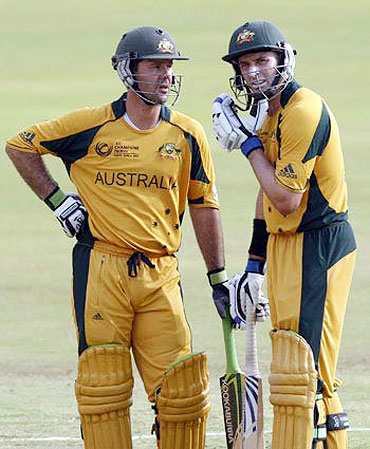 Ricky Ponting and Mike Hussey