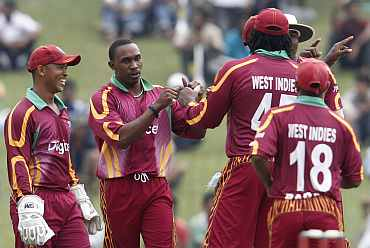 West Indies team celebrates after a win