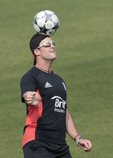 Andrew Strauss goes through the grind during a training session in Dhaka on Monday